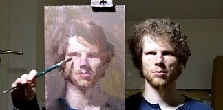 Ewan McClure Created A Portrait Of Himself Painting Backwards