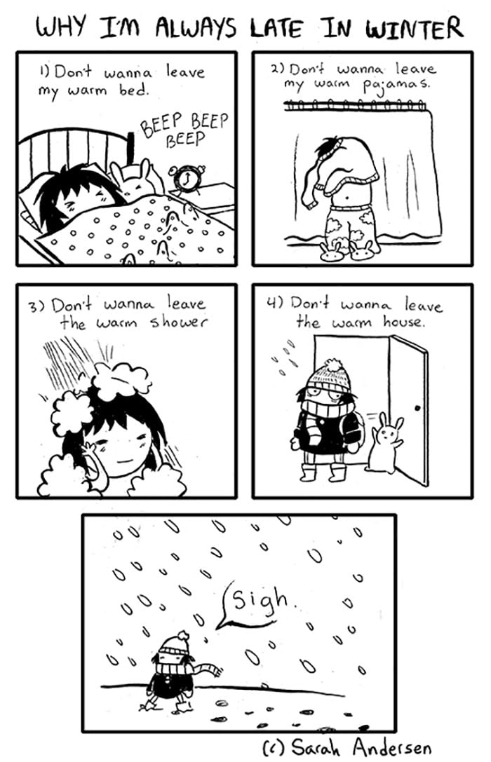 Winter Problems Summed Up In These 19 Comic Illustrations
