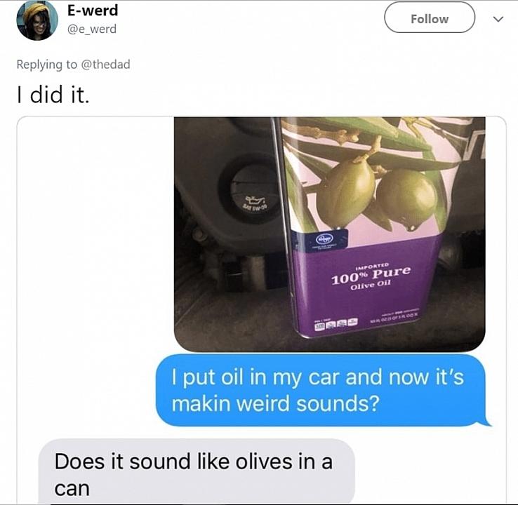 olive oil in car dad prank