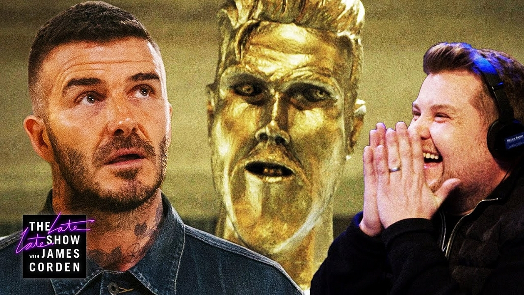 David Beckham Gets Pranked By James Corden In Epic Statue Prank