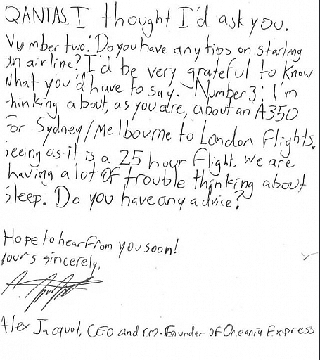 10-Year-Old Boy's Letter To Qantas CEO Asking For Advice Has Gone Viral